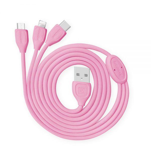 polnilni-in-podatkovni-kabel-remax-lesu-rc-050th-za-iphone-6-6s-micro-usb-type-c-roza-1m