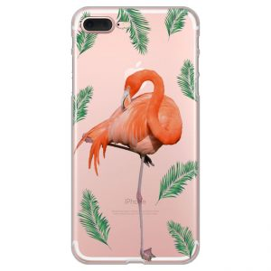 flamingo-with-palm-leaves