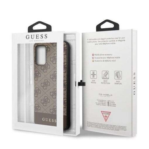 ovitek Guess za Samsung Galaxy S20 Plus hard case 4G Stripe Collection rjava 2
