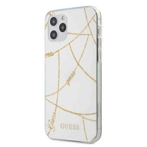 ovitek Guess za iPhone 12 Pro Max hardcase Gold Chain Collection bela