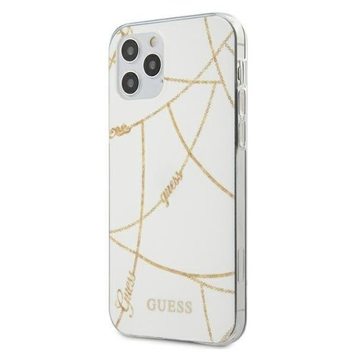 ovitek Guess za iPhone 12 Pro hardcase Gold Chain Collection bela