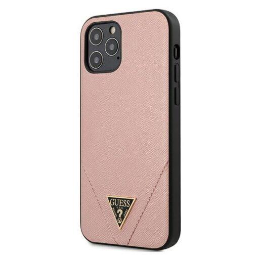 ovitek Guess za iPhone 12 Pro hardcase Saffiano roza