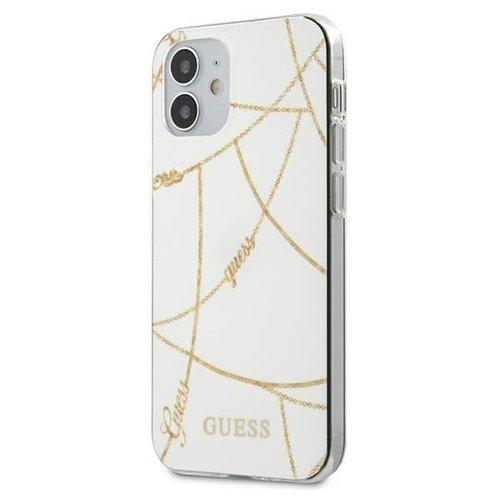 ovitek Guess za iPhone 12 mini hardcase Gold Chain Collection bela