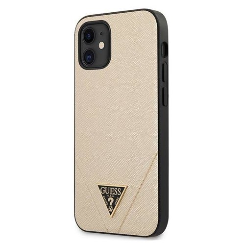 ovitek Guess za iPhone 12 mini hardcase Saffiano zlata