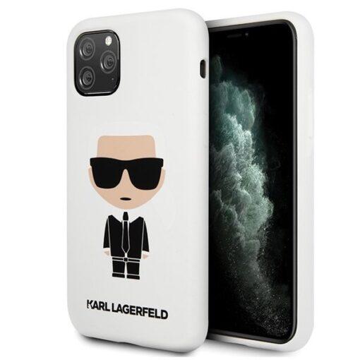 ovitek Karl Lagerfeld za iPhone 11 Pro Max Silicone Iconic bela