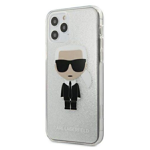 ovitek Karl Lagerfeld za iPhone 12 Pro Max hardcase Glitter Ikonik Karl srebrna