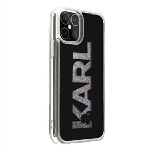 ovitek Karl Lagerfeld za iPhone 12 Pro Max hardcase Karl Logo Glitter crna