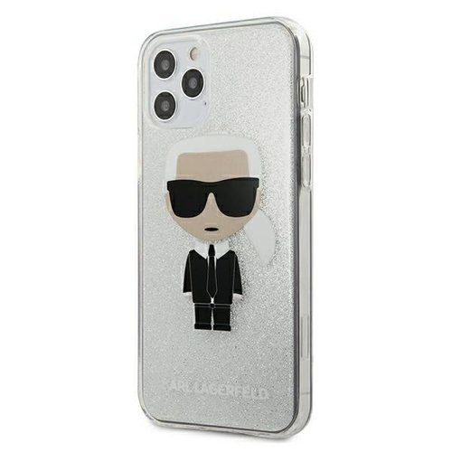 ovitek Karl Lagerfeld za iPhone 12 hardcase Glitter Ikonik srebrna
