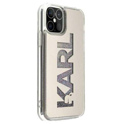 ovitek Karl Lagerfeld za iPhone 12 mini mirror liquid glitter srebrna