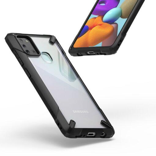 ovitek Ringke Fusion X durable za Samsung Galaxy A21S crna 2