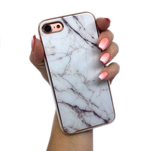 ovitek glass marmor za iphone 7 8 bela