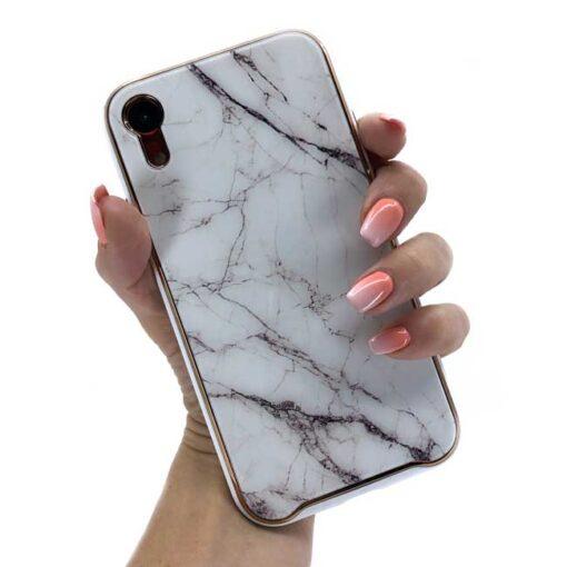 ovitek glass marmor za iphone xr bela
