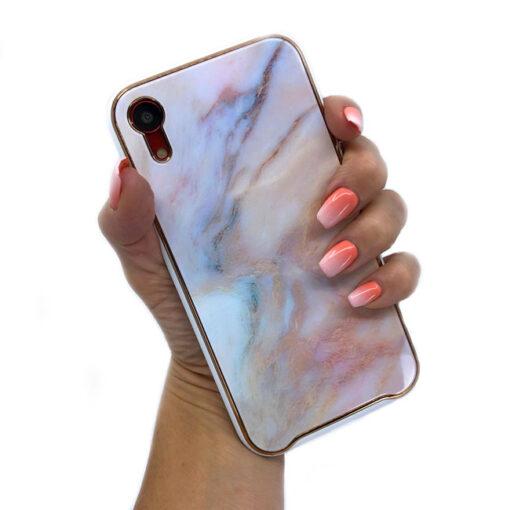 ovitek glass marmor za iphone xr peach