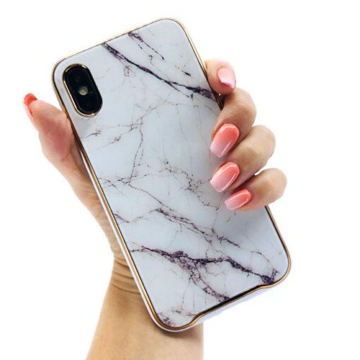 ovitek glass marmor za iphone xs bela