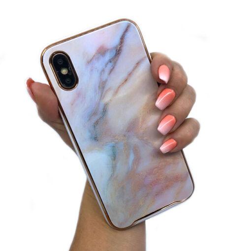 ovitek glass marmor za iphone xs peach