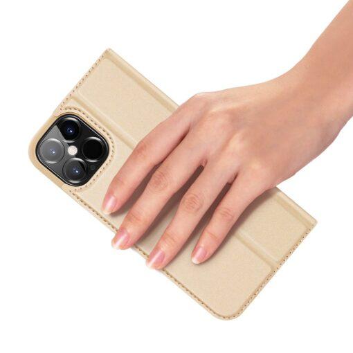 preklopni etui DUX DUCIS Skin Pro za iPhone 12 Pro Max zlata 1