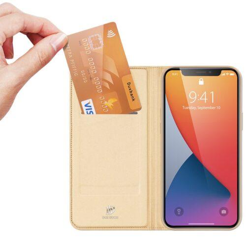 preklopni etui DUX DUCIS Skin Pro za iPhone 12 zlata 1