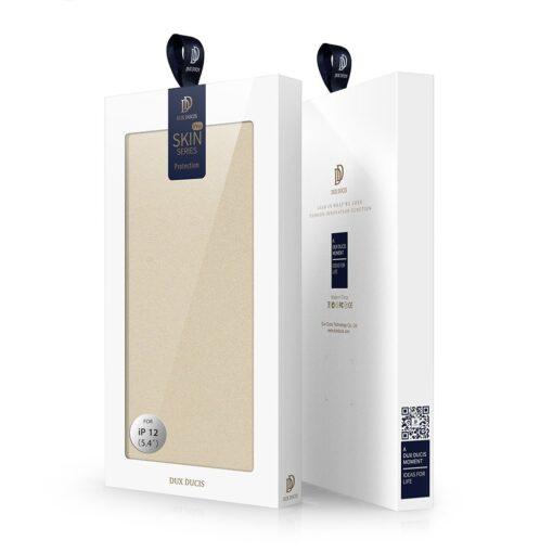 preklopni etui DUX DUCIS Skin Pro za iPhone 12 zlata 4