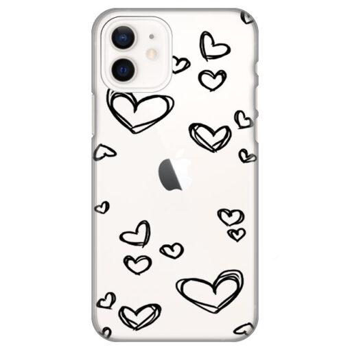 silikonski ovitek za iphone 12 black hearts
