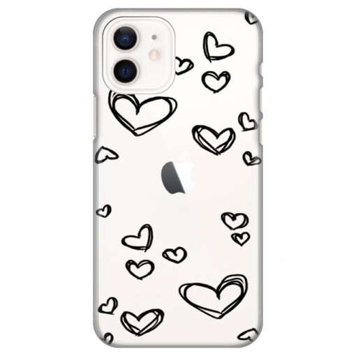 silikonski ovitek za iphone 12 mini black hearts