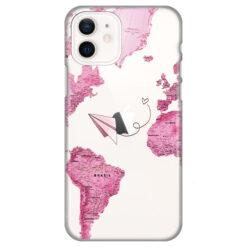 silikonski ovitek za iphone 12 mini pink map