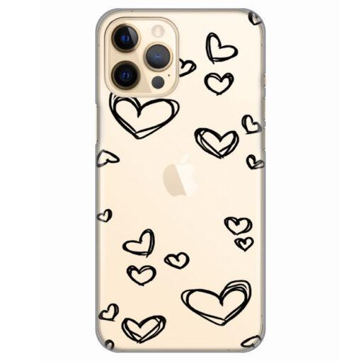 silikonski ovitek za iphone 12 pro black hearts