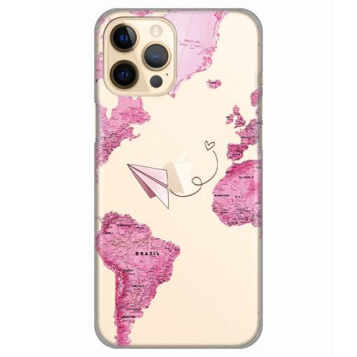 silikonski ovitek za iphone 12 pro pink map