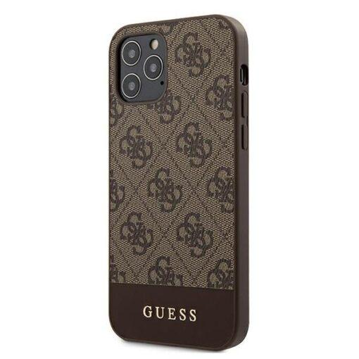 ovitek Guess za iPhone 12 12 Pro 6 1 4G Stripe Collection rjava 1
