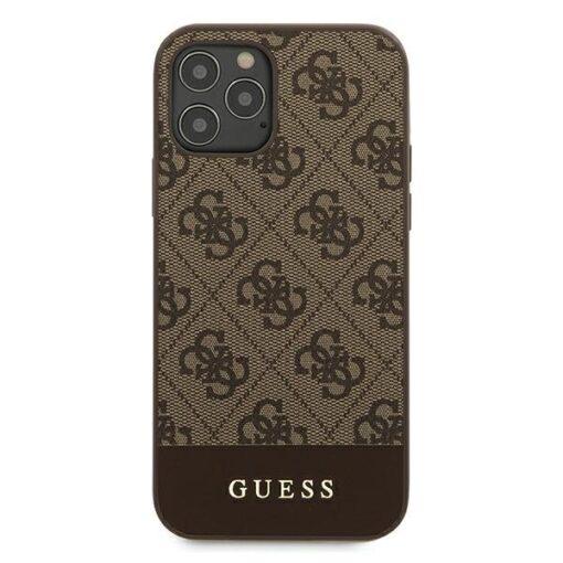 ovitek Guess za iPhone 12 12 Pro 6 1 4G Stripe Collection rjava 2