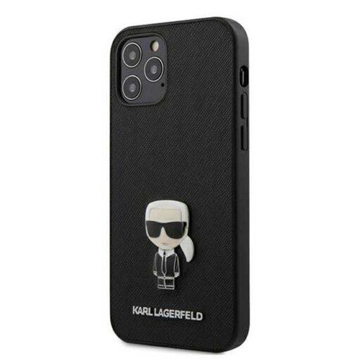 ovitek Karl Lagerfeld za iPhone 12 12 Pro Saffiano Ikonik Metal crna
