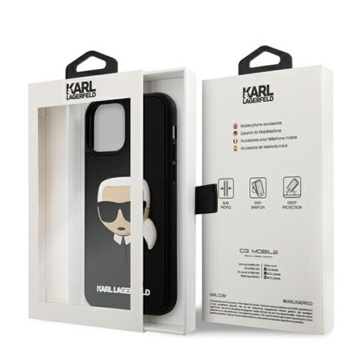 ovitek Karl Lagerfeld za iPhone 12 Pro Max 6 7 3D Karls Head crna 3