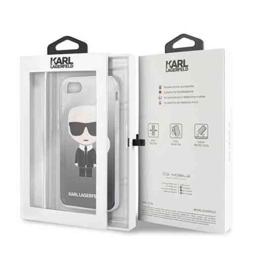 ovitek Karl Lagerfeld za iPhone 7 8 SE 2020 Gradient Ikonik Karl crna 2