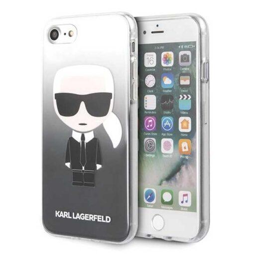ovitek Karl Lagerfeld za iPhone 7 8 SE 2020 Gradient Ikonik Karl crna