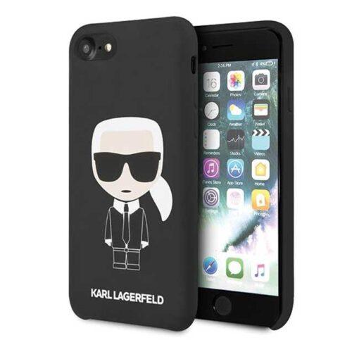 ovitek Karl Lagerfeld za iPhone 7 8 SE 2020 Silicone Iconic crna 2