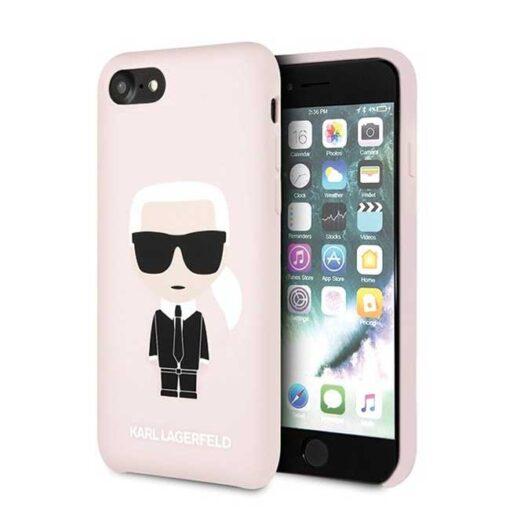 ovitek Karl Lagerfeld za iPhone 7 8 SE 2020 Silicone Iconic roza