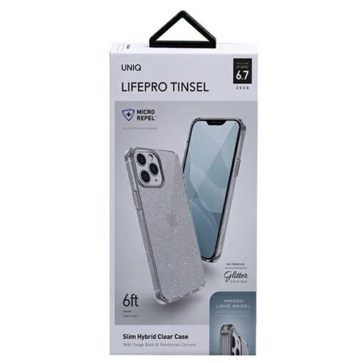 ovitek UNIQ z blescicami za iPhone 12 pro max transparent 3