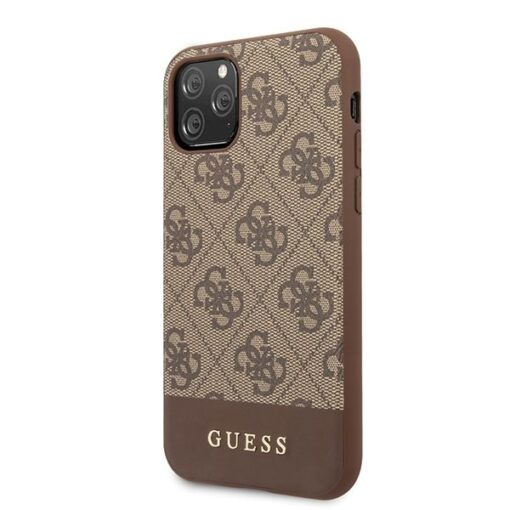 Etui Guess ovitek iPhone 11 Pro Max rjava brown hard case 4G Stripe Collection 1