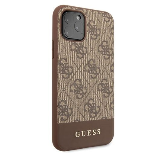 Etui Guess ovitek iPhone 11 Pro Max rjava brown hard case 4G Stripe Collection 2