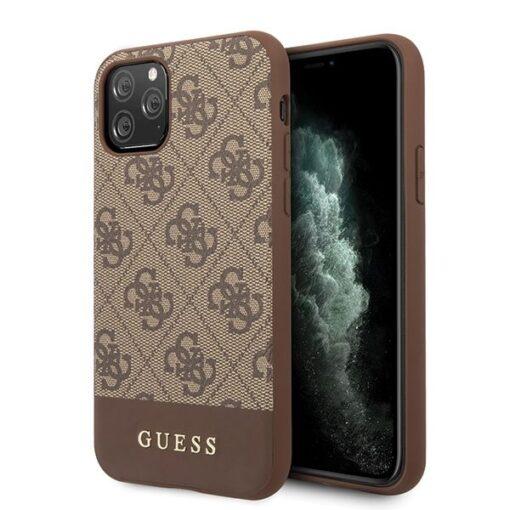 Etui Guess ovitek iPhone 11 Pro Max rjava brown hard case 4G Stripe Collection