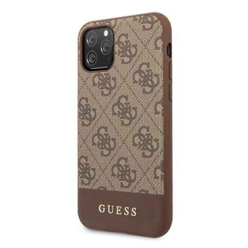 Etui Guess ovitek iPhone 11 Pro rjava brown hard case 4G Stripe Collection 1