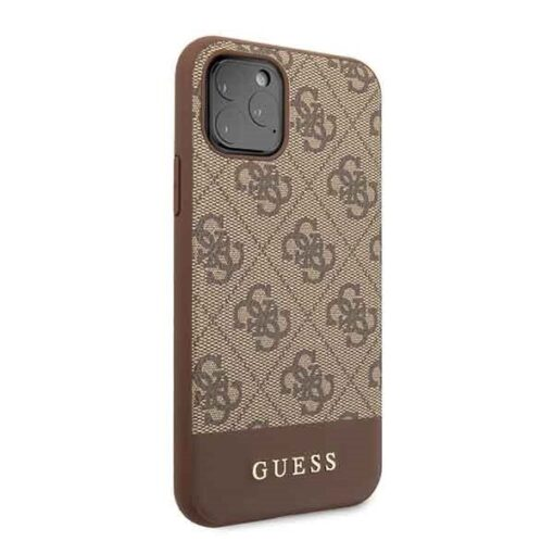 Etui Guess ovitek iPhone 11 Pro rjava brown hard case 4G Stripe Collection 2