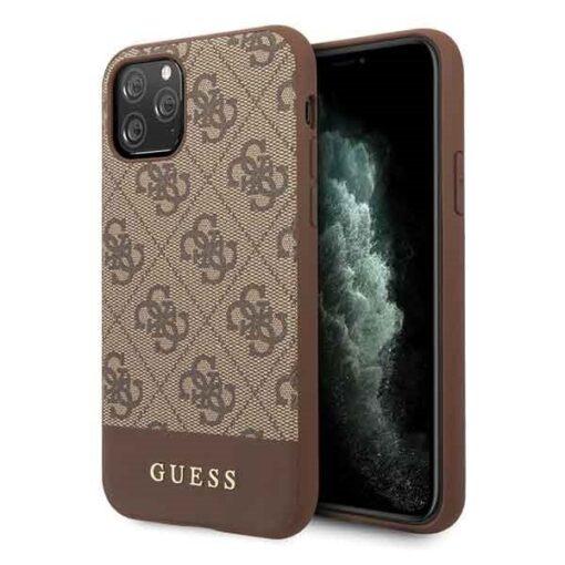 Etui Guess ovitek iPhone 11 Pro rjava brown hard case 4G Stripe Collection