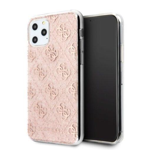 Etui Guess ovitek iPhone 11 Pro roza pink hard case 4G Glitter