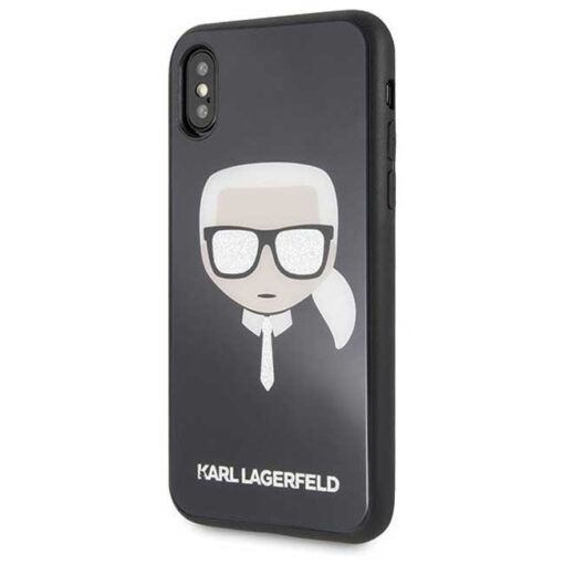 Etui Karl Lagerfeld iPhone X Xs czarny black crna Iconic Glitter Karls Head 1