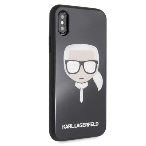 Etui Karl Lagerfeld iPhone X Xs czarny black crna Iconic Glitter Karls Head 3