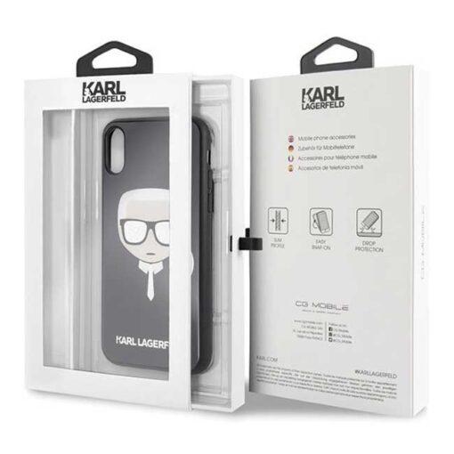 Etui Karl Lagerfeld iPhone X Xs czarny black crna Iconic Glitter Karls Head 4