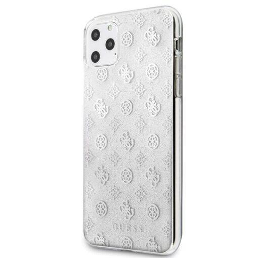 Guess ovitek iPhone 11 Pro Max srebrna silver hard case 4G Peony Glitter 1