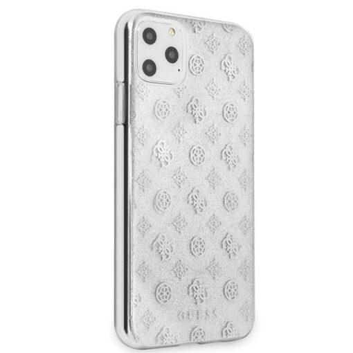 Guess ovitek iPhone 11 Pro Max srebrna silver hard case 4G Peony Glitter 2