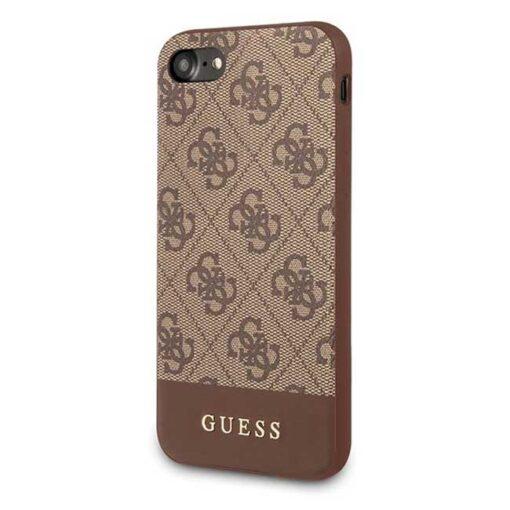 Guess ovitek iPhone 7 8 SE 2020 rjava brown hard case 4G Stripe Collection 1