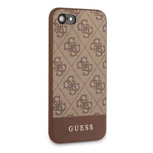 Guess ovitek iPhone 7 8 SE 2020 rjava brown hard case 4G Stripe Collection 2